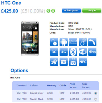 The HTC One is expected in stock at Clove on March 15th