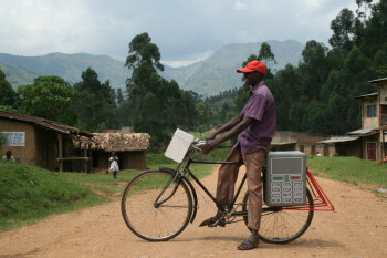 A Buffalo Grid battery being carried by bicycle in Uganda