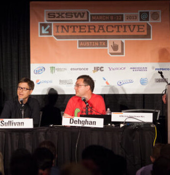Firefox's Sullivan (L) and Dolphin's Dehgahn sat on the panel - Mozilla: No Firefox browser for iOS