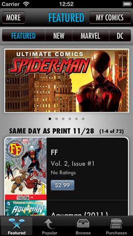 Screenshot from the Apple iPhone version of ComiXology app