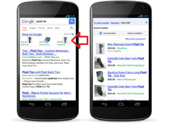 The arrow points to sponsored ads on the smartphone result page