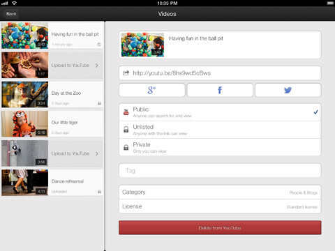 YouTube Capture screenshots for the Apple iPad