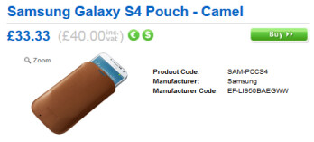 This camel colored pouch sungly fits your Samsung Galaxy S 4