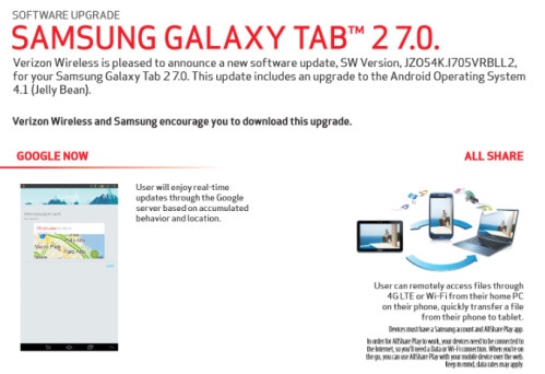 Android 4.1.2 update for Samsung Galaxy Tab 2 (10.1) and (7.0)
