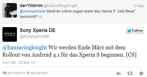 Sony Germany says the Android 4.1 update for the Sony Xperia S is coming - Android 4.1 update for Sony Xperia S said to be happening this month