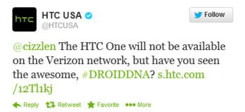 HTC USA says no HTC One for Verizon