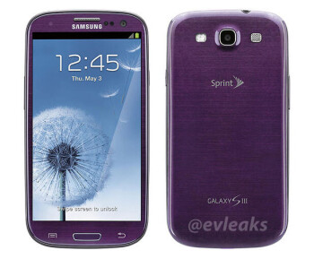 Closeup shot of the purple Samsung Galaxy S III for Sprint appears
