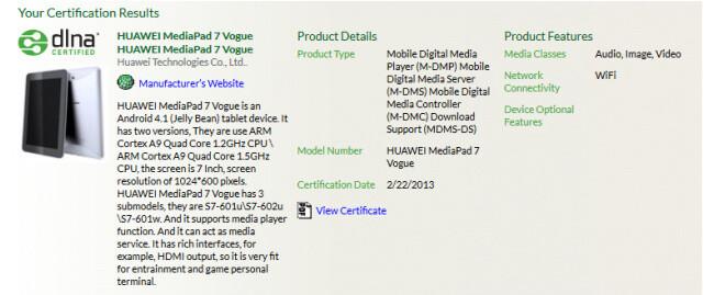 Huawei MediaPad 7 Vogue Android tablet surfaces online