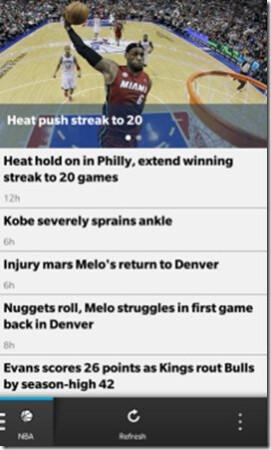 CBS Sports app for BlackBerry 10