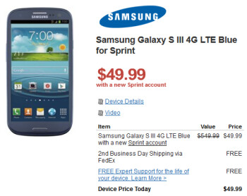 The Samsung Galaxy S III can be bought for as low as $49.99 on contract