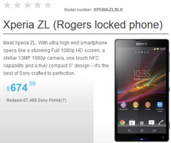 The Rogers-locked version of the Sony Xperia ZL can be pre-ordered