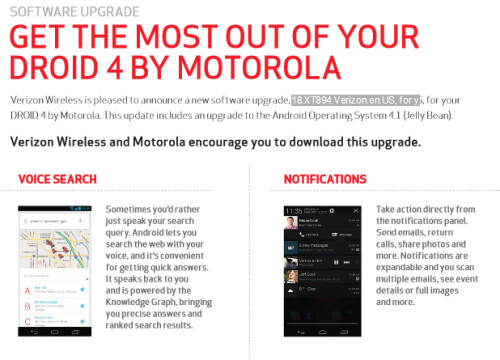Android 4.1 update for the Motorola DROID 4