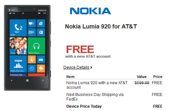 Microsoft is offering the Nokia Lumia 920 for free