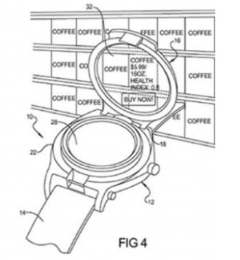 Google's patent application shows coffee prices being checked using a smart watch