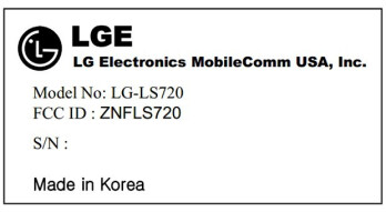 The LG LS720 has visited the FCC