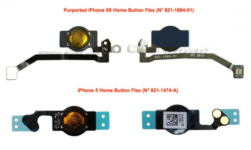Leaked photos allegedly of parts for the Apple iPhone 5S
