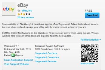 BlackBerry 10 has an eBay app