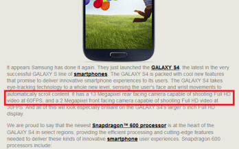 Qualcomm's release mentions that the Samsung Galaxy S4 takes FHD video at 60fps