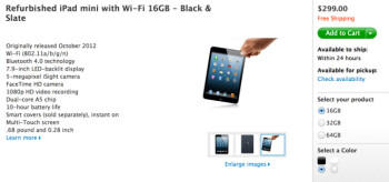 Refurbished iPad mini now available on the Apple Store, starting from $299