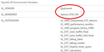 The Adreno 330 GPU tells us that the Qualcomm Snapdragon 800 is under the hood