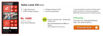The low priced Nokia Lumia 520 is now available for pre-order in India