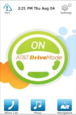 Screenshots from AT&T's Drive Mode