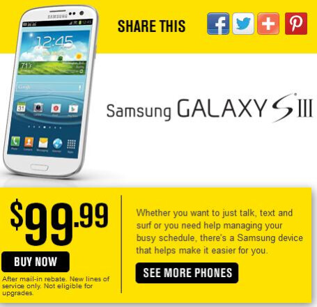 If you're new to Sprint, you can buy the Samsung Galaxy S III for $99.99 - Save $100 on the Samsung Galaxy S III or Samsung Galaxy S II from Sprint through April 11th