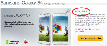 The Samsung Galaxy S4 can be pre-ordered from Expansys Portugal