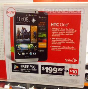 A sign for the HTC One goes up early at an unnamed Radio Shack