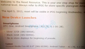 This leaked document says that AT&T will take pre-orders for the HTC One starting Friday