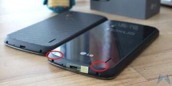 The nubs (circled) on the newer Google Nexus 4