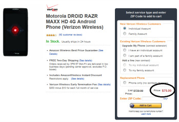 The Motorola DROID RAZR MAXX HD is as low as $79.99 from Amazon