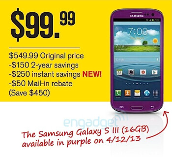 This leaked memo shows the purple Samsung Galaxy S III for $99.99 on contract via Sprint