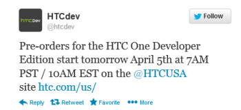 HTC tweets about the HTC One Developer Edition