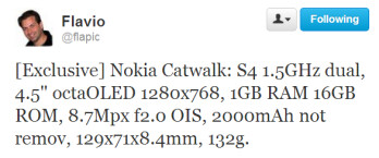 This tweet contains the alleged specs of the Nokia Catwalk for T-Mobile
