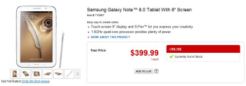 """Samsung Galaxy Note 8.0, 16GB, Wi-Fi, on Office Depot's web-site for $399, listed as """"Out of Stock"""""""