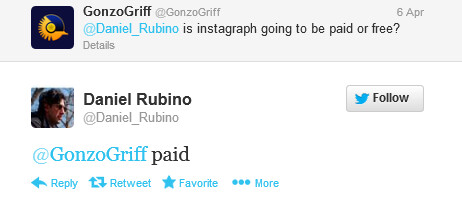 This tweet says Instagraph will be a paid app - Instagraph for Windows Phone, an Instagram work around, will be a paid app