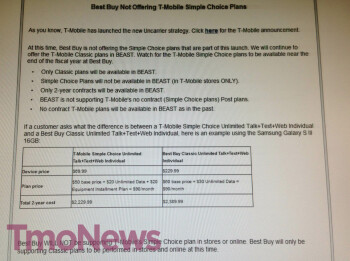 This leaked screenshot of an internal Best Buy document reveals the current pricing scheme for T-Mobile devices at Best Buy
