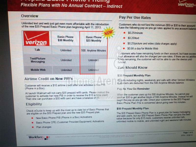 $35 Prepaid Basic Phone plan for Verizon to launch on April