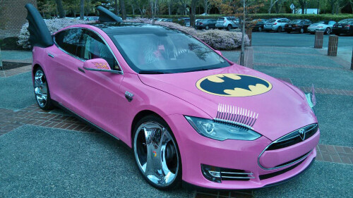Random pic of the day: Google's Sergey Brin in a pink Batmobile