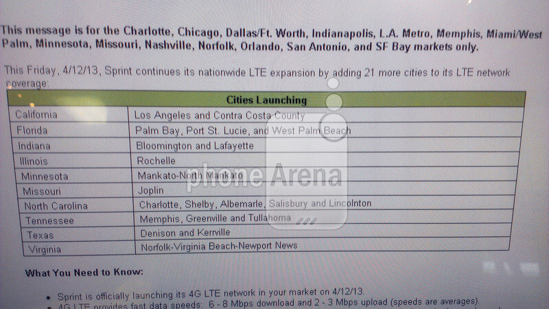 New LTE markets for Sprint - Sprint to announce 21 new LTE markets on April 12