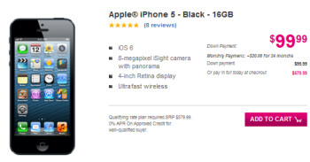 The Apple iPhone 5 is now available from T-Mobile