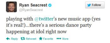 Ryan Seacrest tweets about Twitter's unreleased music app