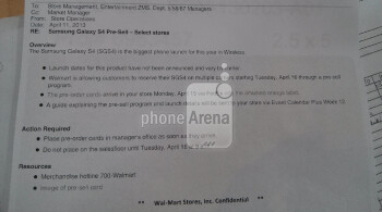 Leaked memo shows that Walmart will take pre-orders for the Samsung Galaxy S4 starting Tuesday