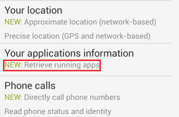 Some of the new permissions for the updated Facebook app on Android