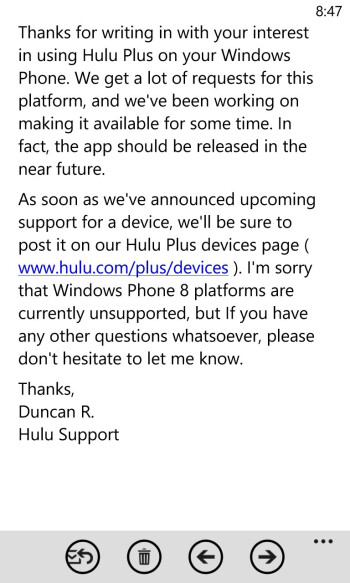 Hulu Plus on the way to Windows Phone 8
