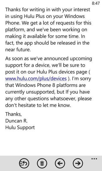 Hulu Plus on the way to Windows Phone 8