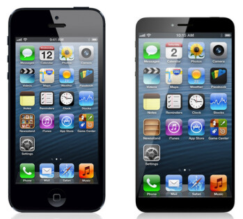 Concept Apple iPhone 6 (R) has a larger screen but a smaller body than the Apple iPhone 5