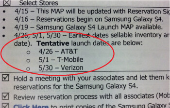 Leaked Staples memo includes tentative launch dates for the Samsung Galaxy S4