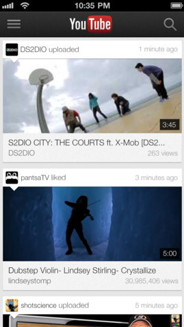 Screenshots from YouTube for iOS